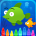 Head under the sea to fill in fun scenes with this digital coloring book for iPad