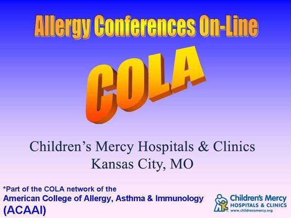 Allergy Conferences Online - Children's Mercy Hospital
