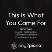 This Is What You Came for (Shortened) Originally Performed by Calvin Harris & Rihanna] [Piano Karaoke Version]