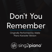 Don't You Remember Originally Performed By Adele [Piano Karaoke Version] Sing2Piano - Sing2Piano