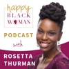 Happy Black Woman with Rosetta Thurman artwork