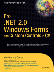 Pro .NET 2.0 Windows Forms and Custom Controls in C# Couverture de livre