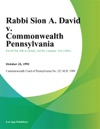 Rabbi Sion A David V Commonwealth Pennsylvania