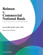 Bolman v. Commercial National Bank