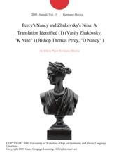 Percy's Nancy and Zhukovsky's Nina: A Translation Identified (1) (Vasily Zhukovsky,