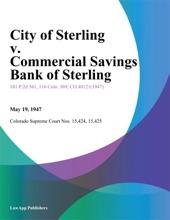 City of Sterling v. Commercial Savings Bank of Sterling
