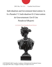 Individualism And Government Intervention: Is It A Paradox?/ L'individualism Et L'intervention De Gouvernement: Est-Il Une Paradoxie?(Report)