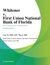 Whitener V. First Union National Bank Of Florida