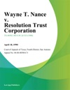 Wayne T Nance V Resolution Trust Corporation