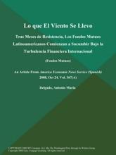 Lo Que El Viento Se Llevo: Tras Meses De Resistencia, Los Fondos Mutuos Latinoamericanos Comienzan A Sucumbir Bajo La Turbulencia Financiera Internacional (Fondos Mutuos)