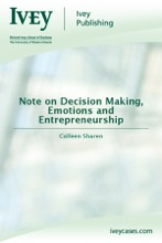 Note On Decision Making, Emotions And Entrepreneurship