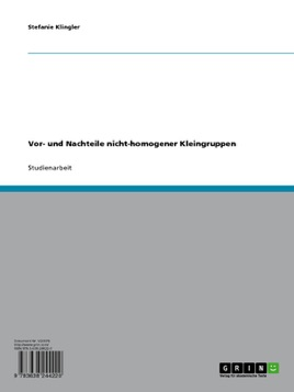 Vor- und Nachteile nicht-homogener Kleingruppen im Unterricht (German Edition)
