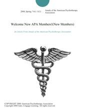 Welcome New APA Members!(New Members)