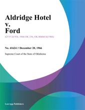 Aldridge Hotel V. Ford