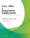 Gary Allen V Department Employment