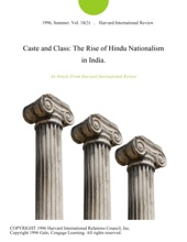 Caste And Class: The Rise Of Hindu Nationalism In India.