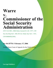 Warre V. Commissioner Of The Social Security Administration