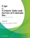 Cope V Vermeer Sales And Service Of Colorado Inc