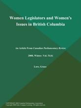 Women Legislators and Women's Issues in British Columbia