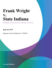 Frank Wright V. State Indiana