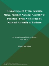 Keynote Speech by Dr. Fehmida Mirza, Speaker National Assembly of Pakistan - Press Note Issued by National Assembly of Pakistan