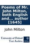 Poems Of Mr John Milton Both English AndLatin And A Maske Of The Same Author 1645