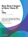Beta Beta Chapter Of Beta Theta Pi V May