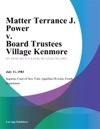 Matter Terrance J Power V Board Trustees Village Kenmore