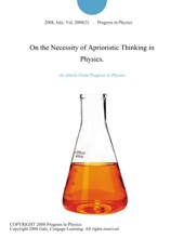 On The Necessity Of Aprioristic Thinking In Physics.