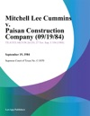 Mitchell Lee Cummins V Paisan Construction Company
