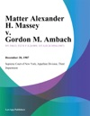 Matter Alexander H Massey V Gordon M Ambach
