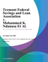 Tremont Federal Savings And Loan Association V Mohammed K Ndanusa Et Al
