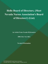 Hello Board of Directors (Meet Nevada Nurses Association's Board of Directors!) (List)