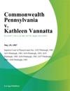 Commonwealth Pennsylvania V Kathleen Vannatta