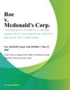 Roe V Mcdonalds Corp