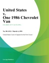 United States V One 1986 Chevrolet Van