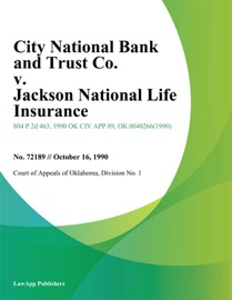 CITY NATIONAL BANK AND TRUST CO. V. JACKSON NATIONAL LIFE INSURANCE