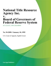 National Title Resource Agency Inc. V. Board Of Governors Of Federal Reserve System