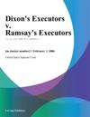 Dixons Executors V Ramsays Executors