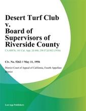 Desert Turf Club v. Board of Supervisors of Riverside County