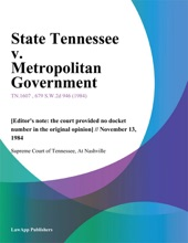 State Tennessee V. Metropolitan Government