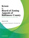 Kroen V Board Of Zoning Appeals Of Baltimore County