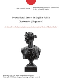 PREPOSITIONAL ENTRIES IN ENGLISH-POLISH DICTIONARIES (LINGUISTICS)
