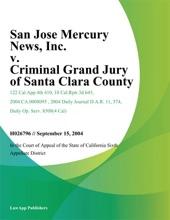 San Jose Mercury News, Inc. v. Criminal Grand Jury of Santa Clara County