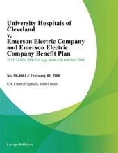 University Hospitals Of Cleveland V. Emerson Electric Company And Emerson Electric Company Benefit Plan