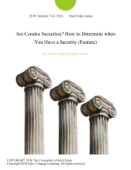 Are Condos Securities? How to Determine when You Have a Security (Feature)