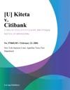 U Kiteta V Citibank