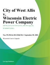 City Of West Allis V. Wisconsin Electric Power Company