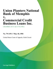 Union Planters National Bank Of Memphis V. Commercial Credit Business Loans Inc.
