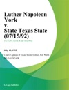 Luther Napoleon York V State Texas State